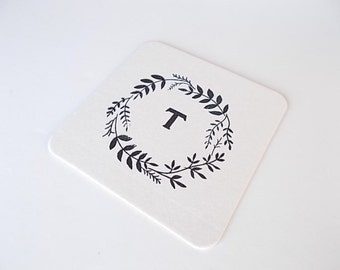 Monogrammed Coasters, Hostess Gift, Hand Stamped Coasters, Tableware, Housewarming Party Gift