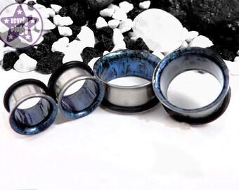 "Black Blue Orbital Tunnel / Eyelet / Plug / Gauge Handpainted Moon Rock 3/4"", 7/8"", 1"" / 19mm, 20mm, 22mm, 24mm, 25mm"
