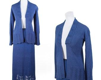 1930s Sweater Set // Blue Rayon Knit Fan Stitch Cardigan Skirt Set