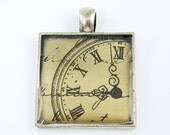 Clock Pendant - Steampunk Grunge Black Tan Gray Silver Timekeepers Square Resin Jewelry