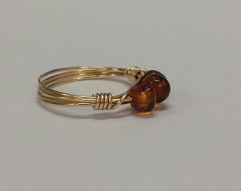 Genuine Baltic Amber Ring in Gold