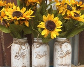 One Ball Distressed Jar plus One Bunch of Sunflowers