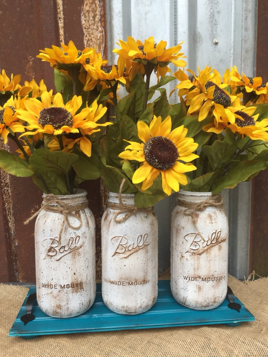 Sunflower mason jar arrangement flower