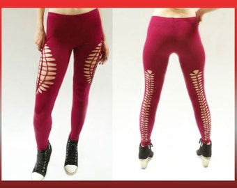 """SMALL - Womens / Juniors """"LUSCIOUS RED"""" Cut Up, Shredded and Weaved Red Leggings"""