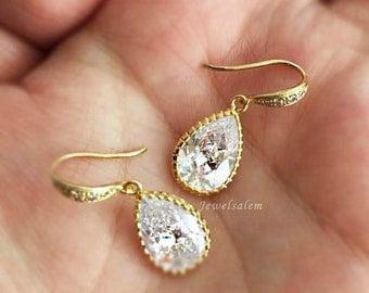 Gold Bridal Earrings Elegant Cubic Zirconia Tear Drop Earrings Modern Wedding Jewellery Bridesmaids Gift