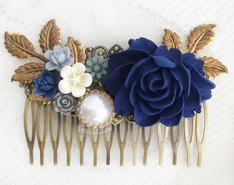 Dark Blue Flower Navy Blue White Wedding Comb Romantic Bridal Hair Slide Elegant Wedding Hair Adornment Hair Pin for Bride Hair Jewelry