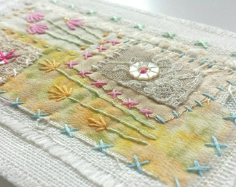 Hand embroidered fabric postcard in beautiful pastel colours with vintage buttons and lace - flowers, textile art, collage, special gift