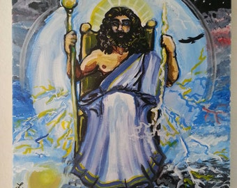 Roman god Jupiter 12x12 acrylic