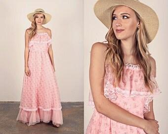 Vintage 70s Dress Pink Ruffles Flower Romantic Maxi