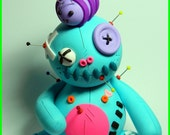 Bumblebee Bo of Buttonshire. A Clumzie Buttoneye Voodoo Doll. Hand Sculpted Polymer Clay Figurine