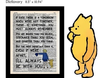 SALE Winnie the Pooh & Christopher Robin Quote 18 Braver Stronger Smarter on Vintage Upcycled Dictionary Art Print Book Art Print Classic Po