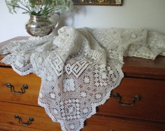 clouds of lace ~ filet lace tablecloth for fanciful up cycling
