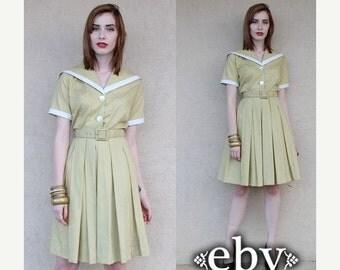 Vintage ShirtDress 50s Day Dress 50s Dress Sailor Dress Nautical Dress Mad Men Dress Vintage 60s Sailor Mini Day Dress XS S