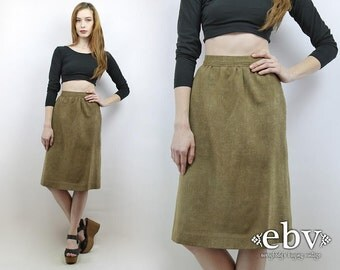 Vintage 70s High Waisted Olive Skirt XS High Waisted Skirt High Waist Skirt Olive Skirt Secretary Skirt Knee Skirt