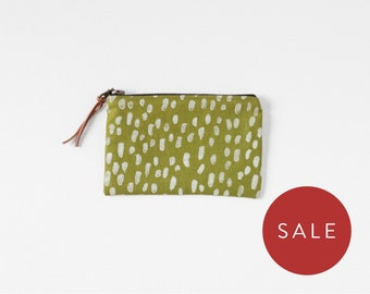 Small Coin Purse - Block Print Zipper Pouch - Green Wallet - Gift for Bridesmaid