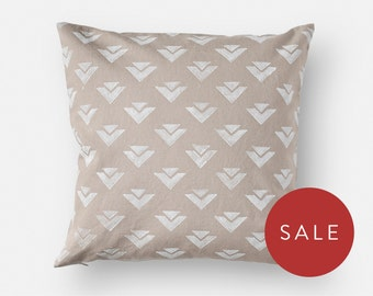 Block Print Pillow Cover - Neutral Taupe - 16x16 Square - Geometric Pattern - White, Non-Toxic, Water-Based Ink