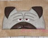 Tan Pet Dog peeker Hooded Towel In the hoop design digital instant download