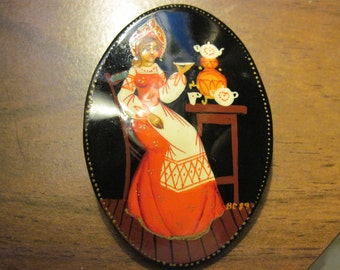 Vintage  Hand Painted Lady Having Tea on Enamel Brooch