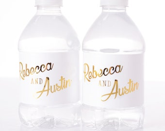 275 GOLD FOIL Wedding Water Bottle Labels REAL Silver or