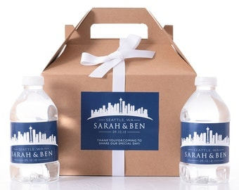 Seattle Destination Wedding - 25 Sketched Skyline Wedding Favor Box / Wedding Welcome Boxes with 50 matching Water Bottle Labels