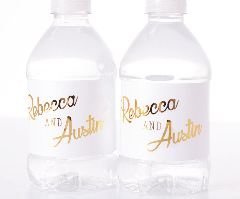 METALLIC FOIL Wedding Water Bottle Labels REAL Metallic