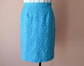 Vintage Preppy Blue Cotton Skirt.   Summer Aqua Calico Skirt.  t Modern Large  VDS9