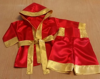 Boxer costume, little  fighter  outfit, boxing trunks, boxing robe