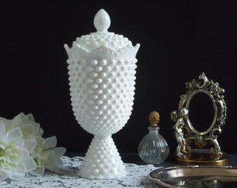 Fenton Hobnail Milk Glass Apothecary Jar - Milk Glass Apothecary Jar - Hobnail Milk Glass Jar - Tall Hobnail White Milk Glass Candy Jar