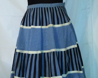 """BIG FALL SALE Amazing 50s Vintage Swing Skirt-Handmade-Mexican-26"""" Waist-Small-Collector Textile-Size 2"""