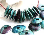 16mm Cornflake beads, Greek Ceramic rondels, Dark Teal with purple splashes, rondelle, for leather cord, washer- 10pc - 1749