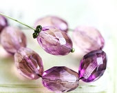 Purple Pink beads, Large Olive shaped beads, czech fire polished oval beads, 13x10mm - 6Pc - 2515