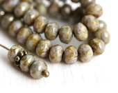 Picasso spacer beads, Luster Grey, Czech glass donut beads, faceted rondels, fire polished - 3x5mm - 40Pc - 2653