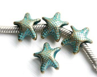 Brass SeaStar beads, Starfish European charms, Green patina, 5mm Large hole bracelet beads, nautical - 4Pc - F477