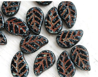 ON SALE Black Leaf beads, Rustic Picasso finish, leaves, czech glass - 14x9mm - 15Pc - 1516