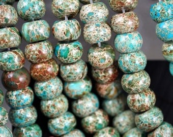 Natural Imperial Jasper (Color Treated) 10x14mm Rondelle Beads, 16-Inch Strand G01017