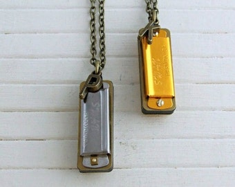 Harmonica Necklace .. musical necklace, music lover gift, personalised, blues harmonica necklace, mouth organ