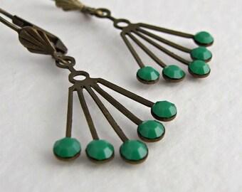 Green Art Deco Earrings .. emerald green, vintage style, brass earrings, fan earrings