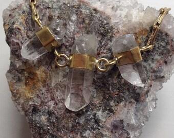 Sample - Trio Banded Quartz Necklace - Brass