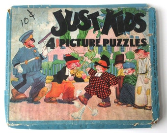 Antique Just Kids Jigsaw Puzzles, 1932 comic strip, King Features Syndicate, jigsaw puzzle