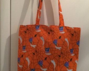 "Orange Spider Web and Ghost  Fabric Print 14"" x 14"" Handmade Tote Bag"