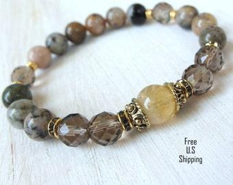 Positivity, Smoky quartz, Citrine, multicolor Moss Agate, Energy Mala, Yoga Bracelet, Meditation bracelet, Reiki Charged,Healing, mala beads