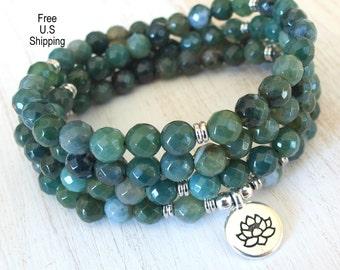 New beginnings. Moss Agate & Om Mala Bracelet or Necklace,Reiki charged, Buddhist Rosary, Prayer beads, Gemstone, wrist mala, Lotus, buddha