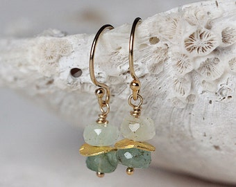 Gold Emerald Earrings - Dainty Green and Gold Gemstone Earrings