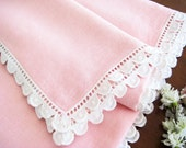 "Vintage Pink Linen Blend Tablecloth, White Scalloped Embroidered Lace Trim, Large 84"" x 71"""