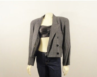 CLOTHING SALE Vintage Blazer Cropped Jacket Liz Claiborne Black & White Double Breasted Modern Size M L Xl