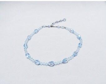 SALE Vintage Necklace Iridescent Blue Crystal 50s 60s Necklace