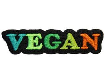 Vegan Iron On Patch Embroidery Sewing DIY Customise Denim Cotton Cute Rainbow Vegetarian Punk Veggie Eat Green