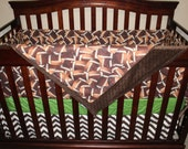 Baby Boy Crib Bedding - Footballs, Touch Down Field, and Brown Chevron Crib Bedding Ensemble