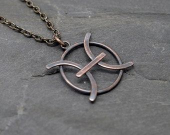 Pisces zodiac necklace oxidised copper