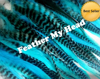 """15 Pc Wide Accent Feather Hair Extenions 7"""" to 11"""" Inches Long Turquoise Pack"""